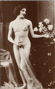 Nude Woman Naked Pretty Female Black & White Risque Unused Litho Postcard G3