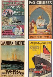 Canadian Pacific Ship LSWR Railways 4x Travel Poster Advertising Postcard s