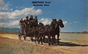 Richfield Utah Greetings Horse Carriage Vintage Postcard K36325