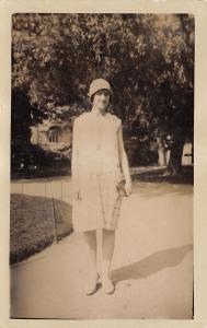 Flapper Girl in Cloche Hat~Clutch Purse~Lady Outside~1920s Real Photo Postcard