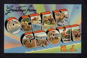 NJ Greetings From OCEAN GROVE New Jersey Linen Postcard Large Letter Lg PC