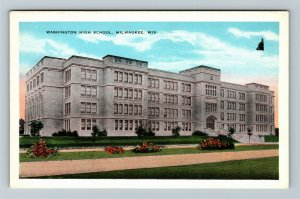 Milwaukee WI-Wisconsin, Washington High School, Vintage c1920 Postcard