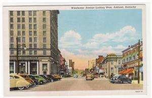 Winchester Avenue Cars Ashland Kentucky 1940s postcard