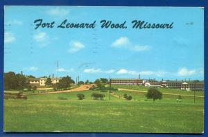 Fort Leonard Wood Missouri mo barracks bus distance view postcard