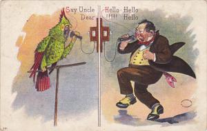 Man Talking To Parrot On Telephone 1910
