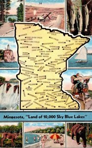 Minnesota With Map From The Land Of The Sky Blue Water 1943 Curteich