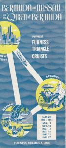 QUEEN of BERMUDA cruise Trips to Bermuda & Nassau pamphlet, 30-40s