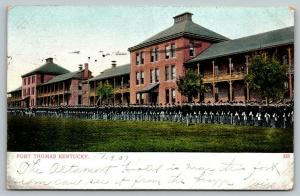 Fort Thomas Kentucky~Soldiers at Attention on Parade Drill Ground~1907 Postcard
