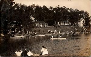 Quincy Michigan~Merchant Picnic at Pleasant Ridge~Crowd~Boating~Cabins~1908 RPPC