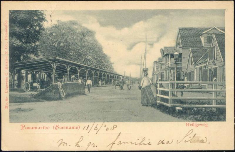 suriname, PARAMARIBO, Heiligeweg with People (1908)