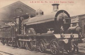LB & SC No 323 4-4-0 Express Engine Train Antique Postcard