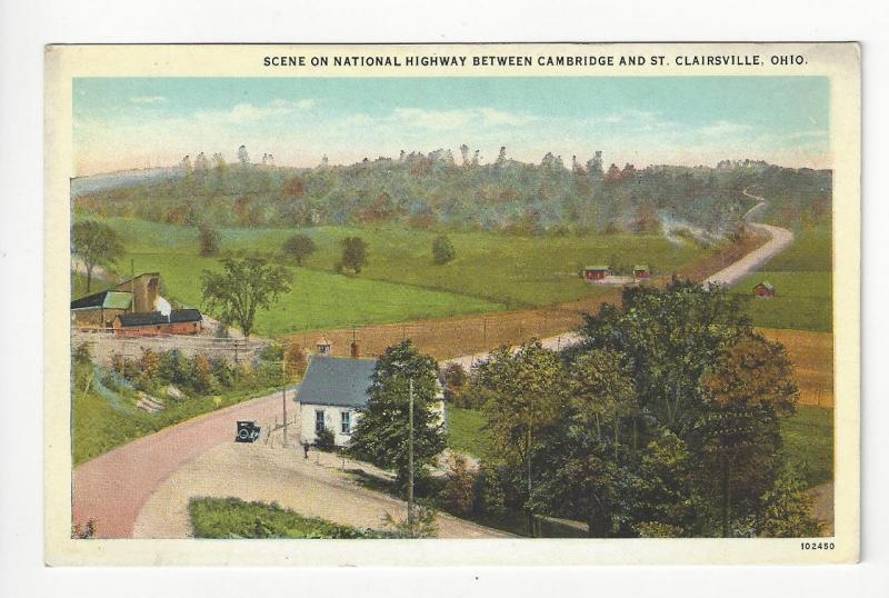 Vintage USA Postcard - Between Cambridge & St. Clairsville, OH - (AH62)