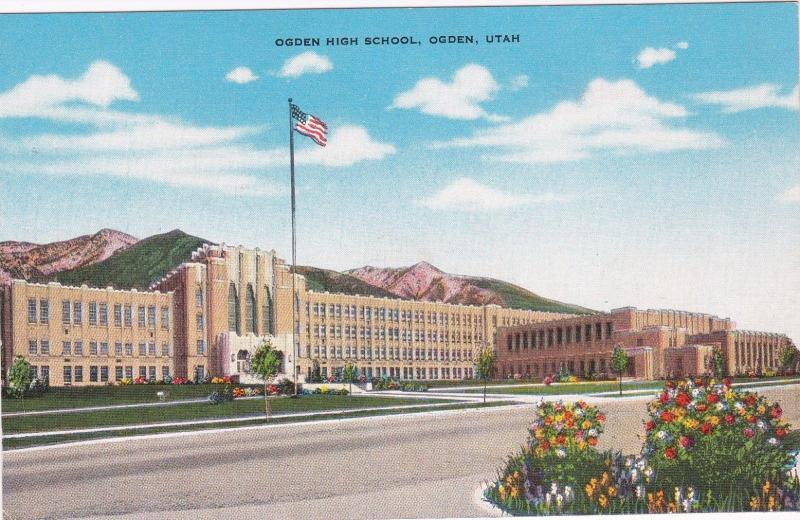 ogden utah 1930 40s high school hippostcard