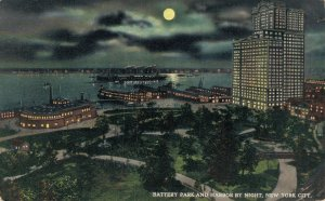 USA Battery Park And Harbour By Night New York City Unposted 03.64