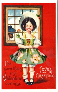 VINTAGE VALENTINES DAY LOVES GREETINGS GIRL BOY DUTCH ART POSTCARD