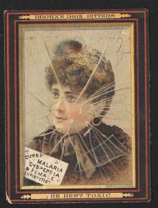 VICTORIAN TRADE CARD Browns Iron Bitters Cures Malaria Lady In Winter Coat & Hat