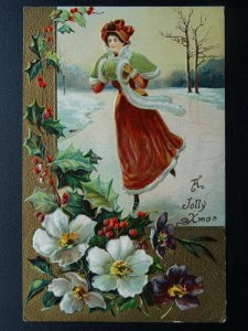 A JOLLY XMAS Lady Ice Skating & Holly - Old Embossed Postcard