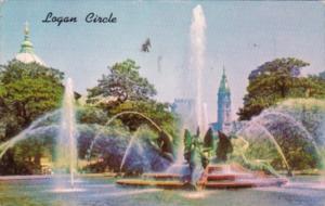 Pennsylvania Philadelphia Swan Memorial Fountain Logan Circle 1960