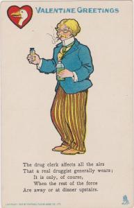 TUCK, Valentine Greetings, Drug Clerk with bottles in his hands, 1906