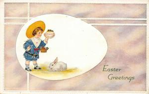 Easter~Sailor Boy Egg Vignette~Looks in Egg Panorama~White Bunny~Emboss~P of P