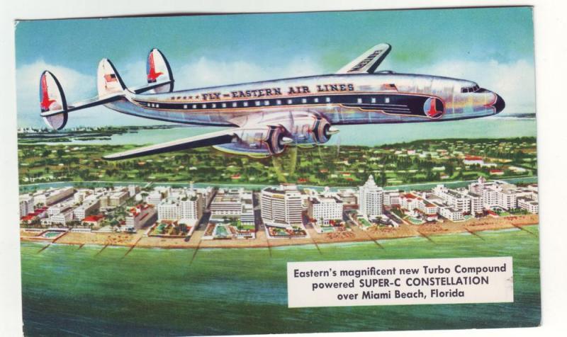 PC47 JL old postcard eastern airline super c constellation