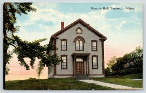 Yarmouth ME~Sun Rises Behind Colonial Brown Masonic Temple~RPPC c1910 Postcard