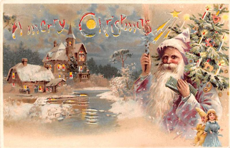 Santa Claus Hold To Light Post Card Old Vintage Antique A Merry Christmas 1905