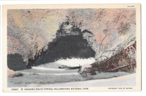 WY Yellowstone Park Dragons Mouth Spring Vtg Haynes Linen Postcard Wyoming