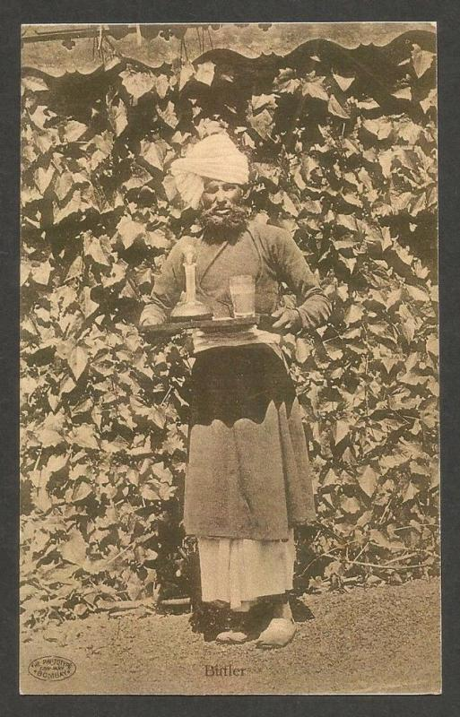 India vintage postcard BUTLER