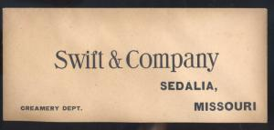 SEDALIA MISSOURI SWIFT AND COMPANY CREAMERY ADVERTISING ENVELOPE MO. VINTAGE