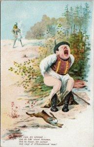 Hunting Man Shot in Butt Bum Rabbit Hare Hunters Humour O.H. Artist Postcard G78