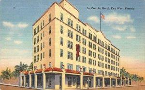 LA CONCHA HOTEL Key West, Florida c1940s Vintage Linen Postcard