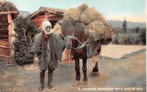 Japan Japanese Packhorse with Bags of Rice, Old Woman