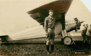 1920s RPPC Postcard Charles Lindbergh & Airplane Spirit of St. Louis, Underwood