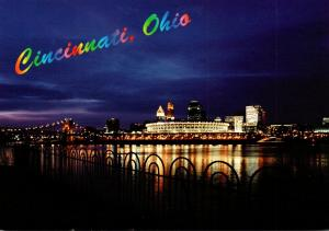 Ohio Cincinnati Skyline & Riverfront Stadium At Night