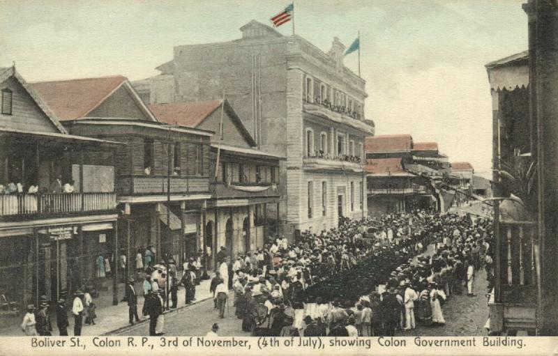 panama, COLON, Boliver Street, 3rd of November, Showing Government Building 1920