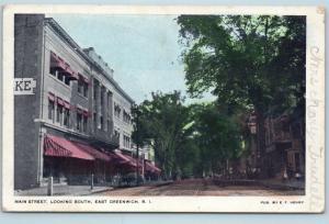 Postcard RI East Greenwich Main Street Looking South 1906 View Q4