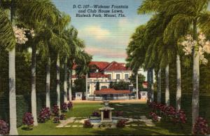 Florida Miami Hialeah Park Widener Fountain and Club House Lawn Curteich