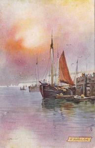 TUCK #6283, Fishing In The North Sea, A Golden Eve, 1900-1910s