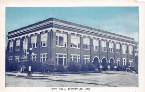 C34/ Blytheville Arkansas AR Postcard c1940s City Hall Building