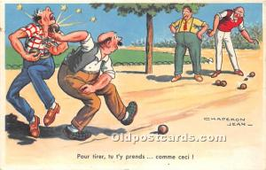 Old Vintage Lawn Bowling Postcard Post Card Pour tirer, tu t'y prends by...