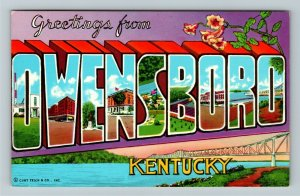 Owensboro KY- Kentucky, Large Letters, General Greetings, Chrome Postcard