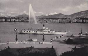 La Rade, Le Jet d'Eau (120 m.) Et Le Mont-Blanc, Geneve, Switzerland, 1900-1910s