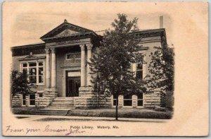 Moberly, Missouri Postcard Public Library Building / Street View - 1907 Cancel
