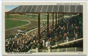 Horse Racing Mariano Race Track Havana Cuba linen postcard