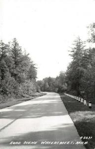 Watersmeet Michigan~Highway Road Scene~Thru Trees~1950s Real Photo Postcard~RPPC