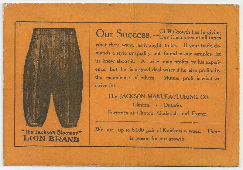 CLINTON, Ontario, Canada, PU-1911; Jackson Bloomer (Knickers) Lion Brand