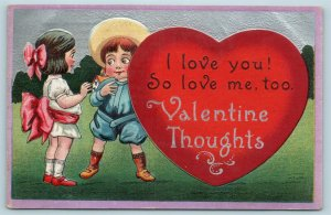 Postcard Valentines I Love You Valentine Thoughts Girl Boy Large Heart 1913 Y17