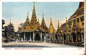 Burma Myanmar Shrines Shwe Dagon Pagoda Rangoon Postcard