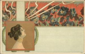 Art Nouveau Beautiful Woman Choker Necklace Flowers c1905 UDB Postcard EXC